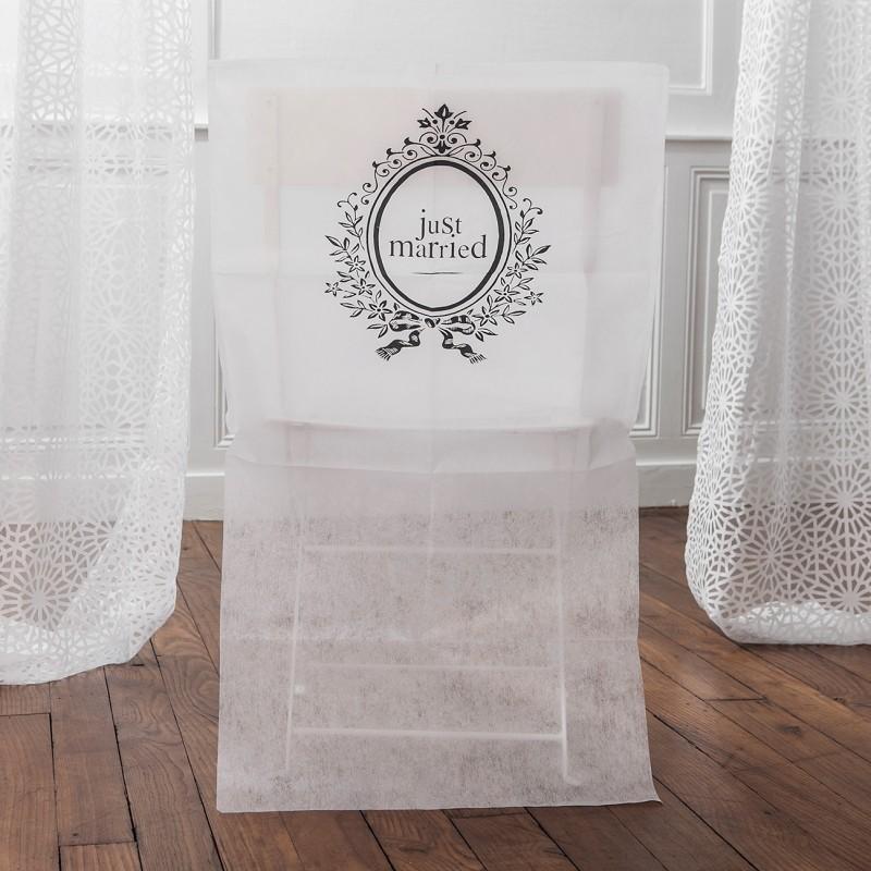 housses de chaises pour mariage just married. Black Bedroom Furniture Sets. Home Design Ideas
