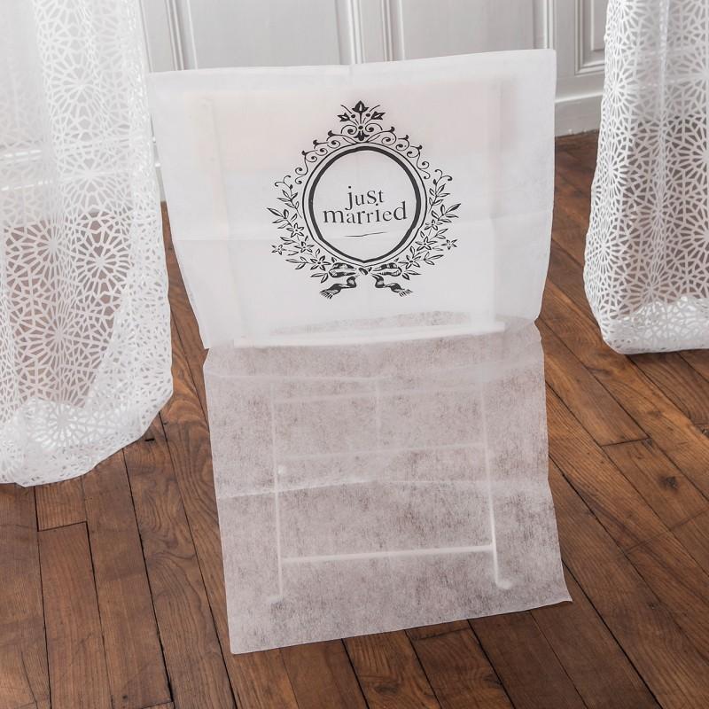 Housses de chaises pour mariage just married - Housse de chaise dossier rond ...