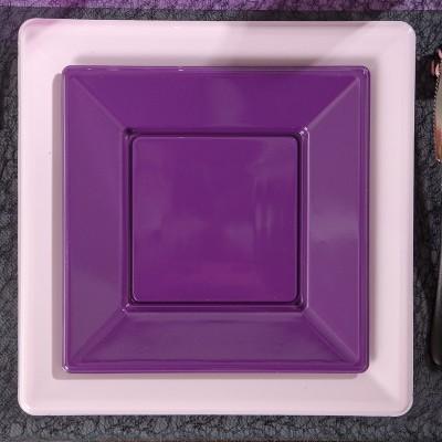 Assiettes à dessert carrées prune ( x8 )