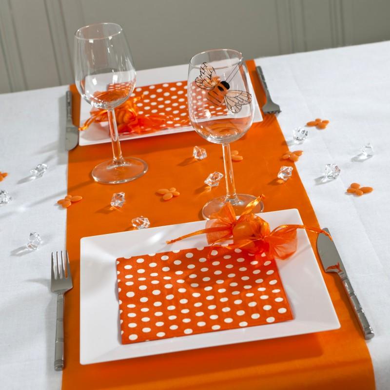 serviettes pois x20 orange blanc. Black Bedroom Furniture Sets. Home Design Ideas