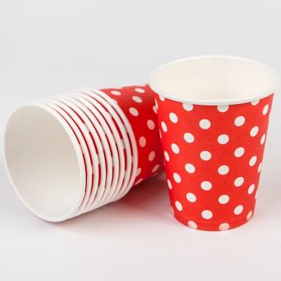 Gobelets à pois (x10) rouge