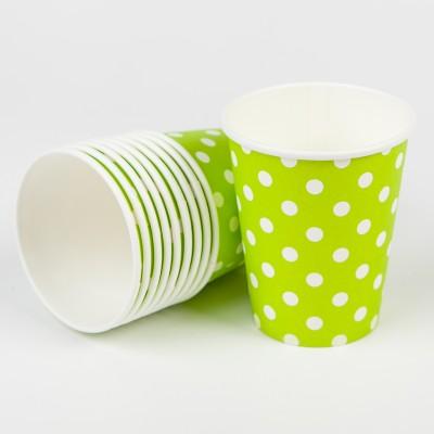 Gobelets à pois (x10) vert anis
