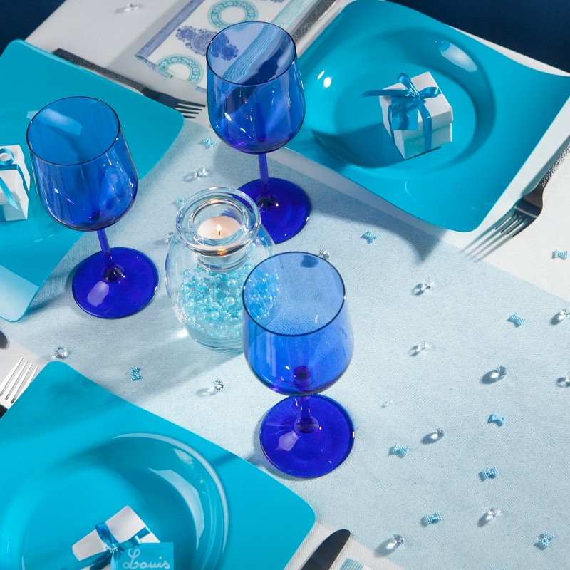 Chemin de table tulle paillet turquoise for Chemin de table turquoise