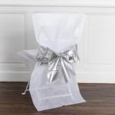 Housses de chaise avec nœud métallisé x4 blanc / argent