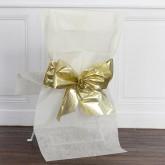 Housses de chaise avec nœud métallisé x4 ivoire / or