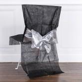 Housses de chaise avec nœud métallisé x4 noir / argent