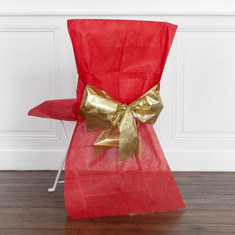 Housses de chaise x4 avec n ud m tallis rouge or for Housse de chaise rouge