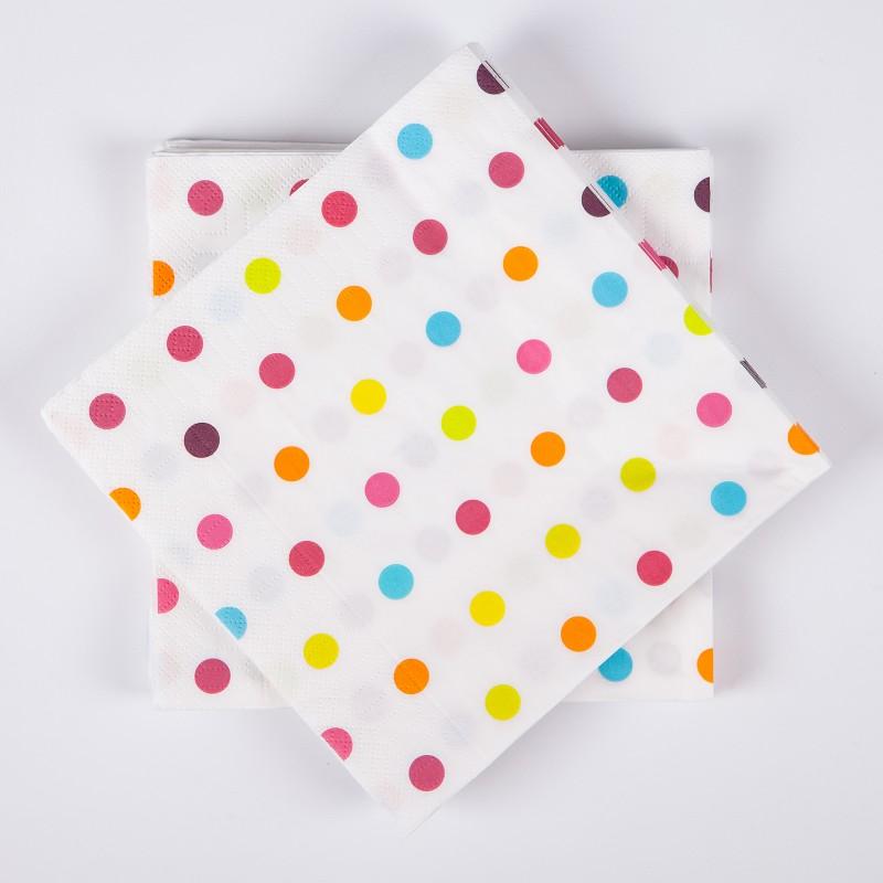 Serviettes de table mini pois x20 multicolore - Deco table multicolore ...