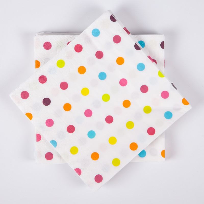 Serviettes de table mini pois x20 multicolore - Set de table multicolore ...