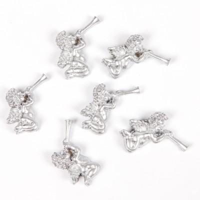 Petits angelots trompette en résine (x6) argent