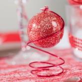Boule transparente pailletée rouge  PM rouge