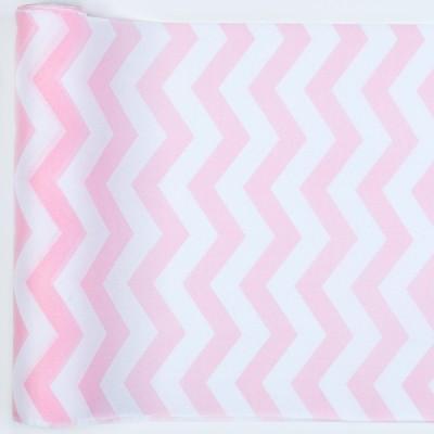 chemin de table chevron en tissu rose. Black Bedroom Furniture Sets. Home Design Ideas