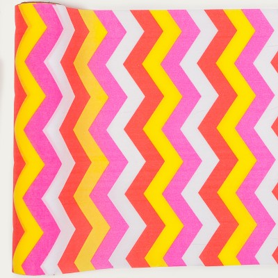 Chemin de table chevron en tissu multicolore