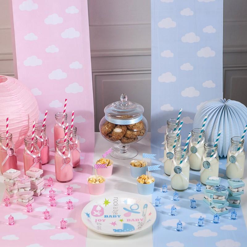 Chemin de table en tissu nuages rose - Tissu pour chemin de table ...