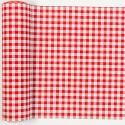 Chemin de table vichy en tissu blanc/rouge