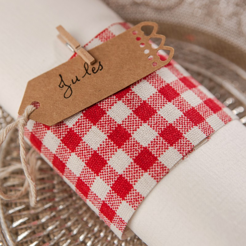 Chemin de table vichy en tissu blanc rouge for Deco chemin de table
