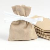 Petits pochons à dragées en lin coton naturel (x6)