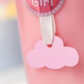 Petites étiquettes nuage (x24) rose