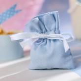 Petits pochons à dragées en lin coton bleu ciel (x6)