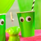 Gobelets rigolos en carton (x10) vert fluo