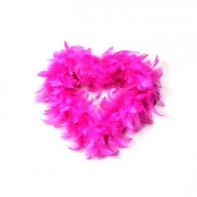 Coeur plumes à suspendre fuchsia