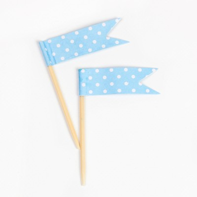Pics fanions bleus plumetis (x24)