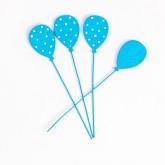 Petits ballons bleus plumetis sur tige ( X 6)