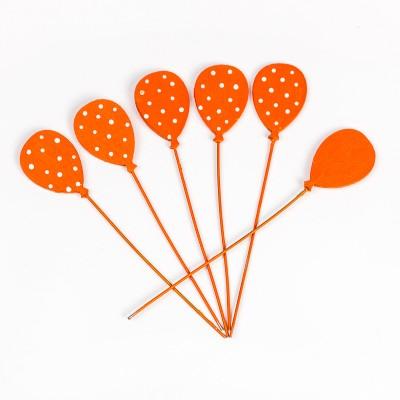 Petits ballons orange plumetis sur tige ( X 6)