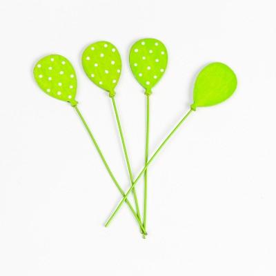 Petits ballons verts plumetis sur tige (x6)