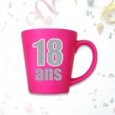 "Mug âge ""18 ans"" fuchsia"