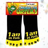 """Chaussettes orteils """"1 an de +"""" noir"""