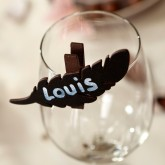 Plumes ardoise sur pince (x6) chocolat