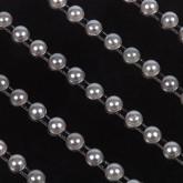 Fines bande de perles nacrées (x5) argent / nacree