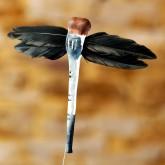 Libellules en plumes (x6) sur tige noir