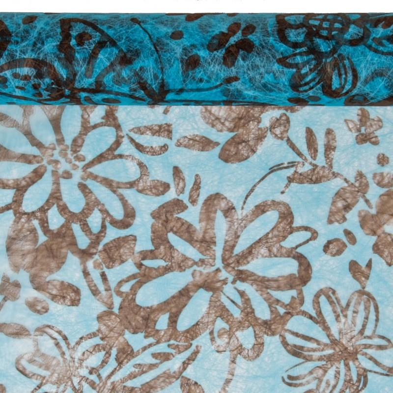 Chemin de table imprim papillons chocolat turquoise for Chemin de table turquoise