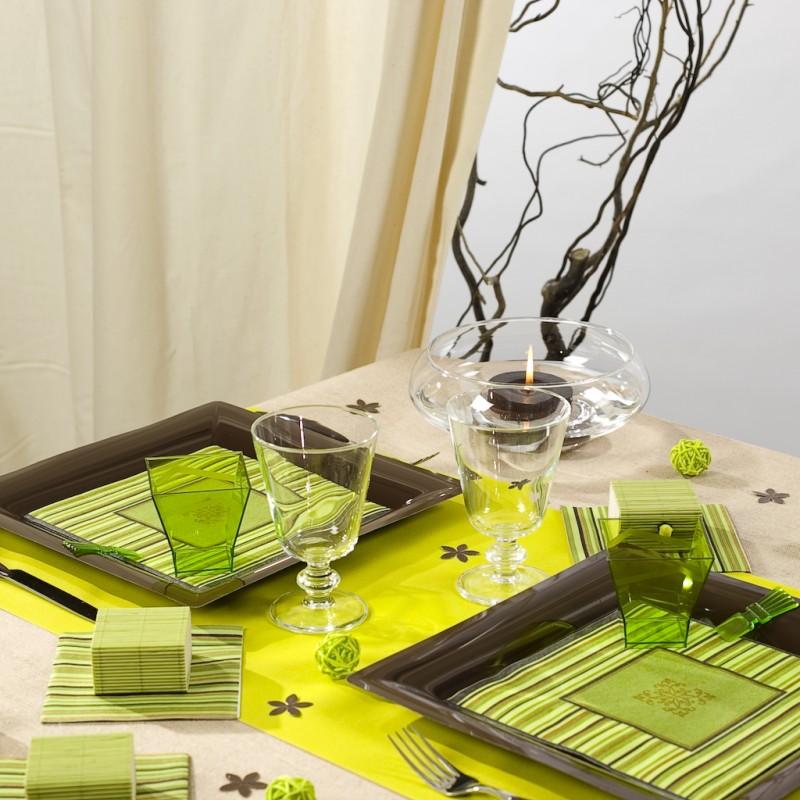 chemin de table t te t te uni vert anis. Black Bedroom Furniture Sets. Home Design Ideas