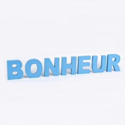Grandes lettres « BONHEUR » à poser turquoise
