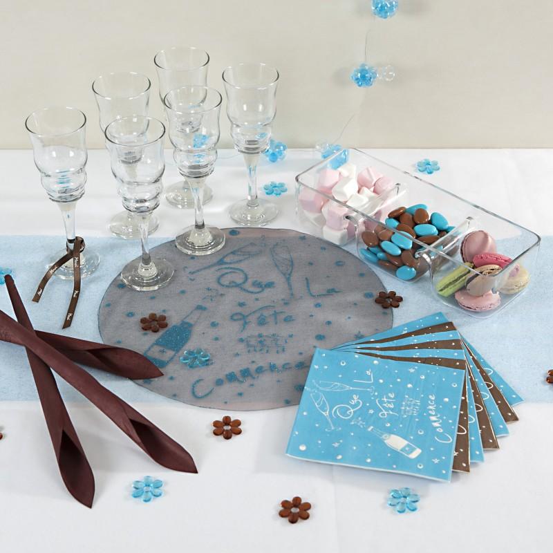 Sets ronds que la f te commence x6 chocolat turquoise - Deco table turquoise chocolat ...