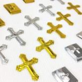 Confettis croix argentées pour communion or / argent