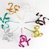 Piquets spirales et perles (x2) turquoise