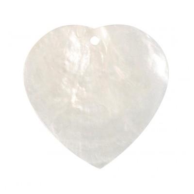 Nacres colorées forme cœur (x6) blanc