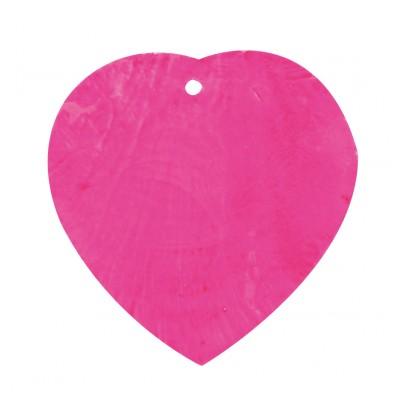 Nacres colorées forme cœur (x6)fuchsia
