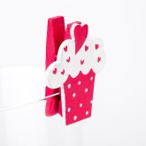 Pinces cup cakes (x6) fuchsia / blanc