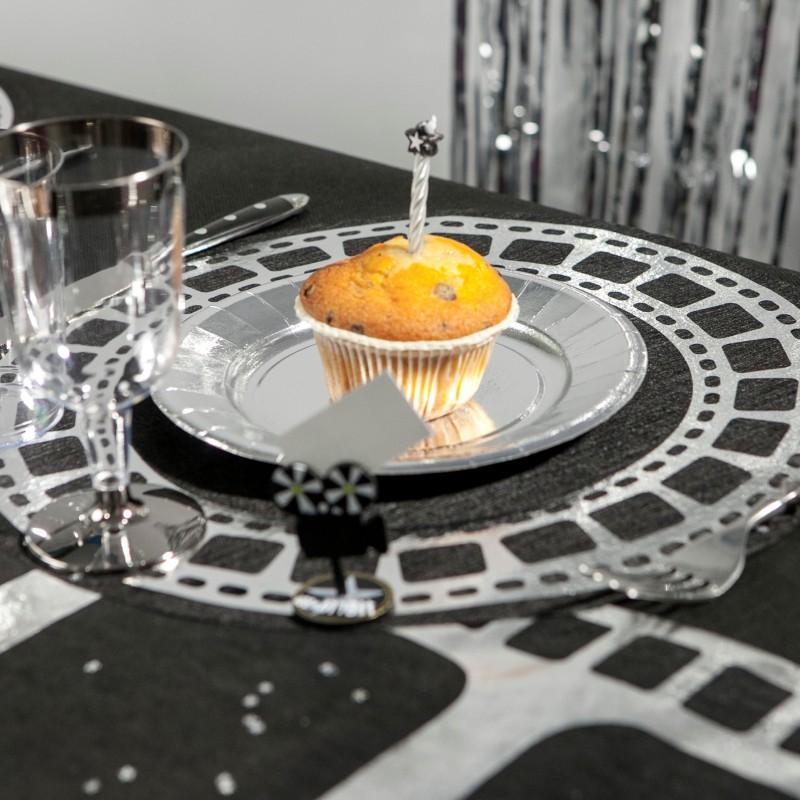 Sets de table cin ma x10 noir argent for Set de table argente