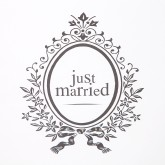 Chemin de table Just Married blanc / argent