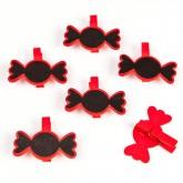 Bonbons sur pince (x 6) rouge