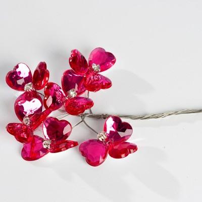 Fleurs cristal (x6) fuchsia
