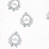 Etiquettes rondes  Just Married (x10) blanc / argent