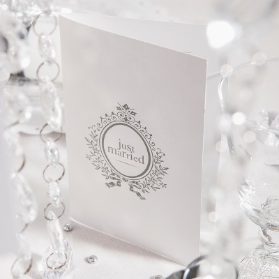 Menus  Just Married (x6) blanc / argent