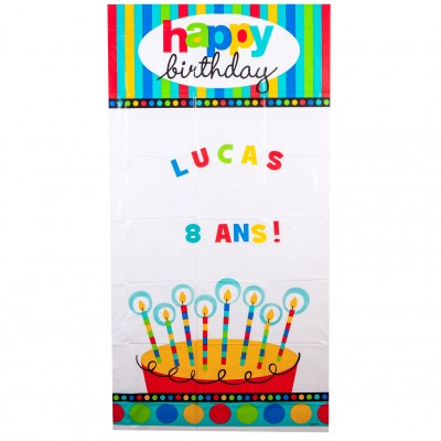 Panneau de porte personnalisable Happy Birthday multicolore